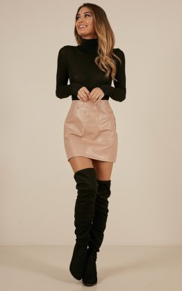 How I Feel Skirt In Nude Leatherette