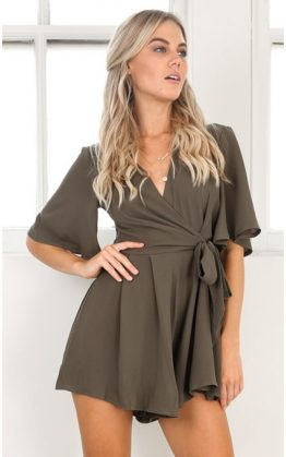 Meant To Be Playsuit in Khaki