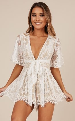 Break The Bar Playsuit in White