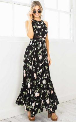 Run Alone Maxi Dress in Black Rose Floral