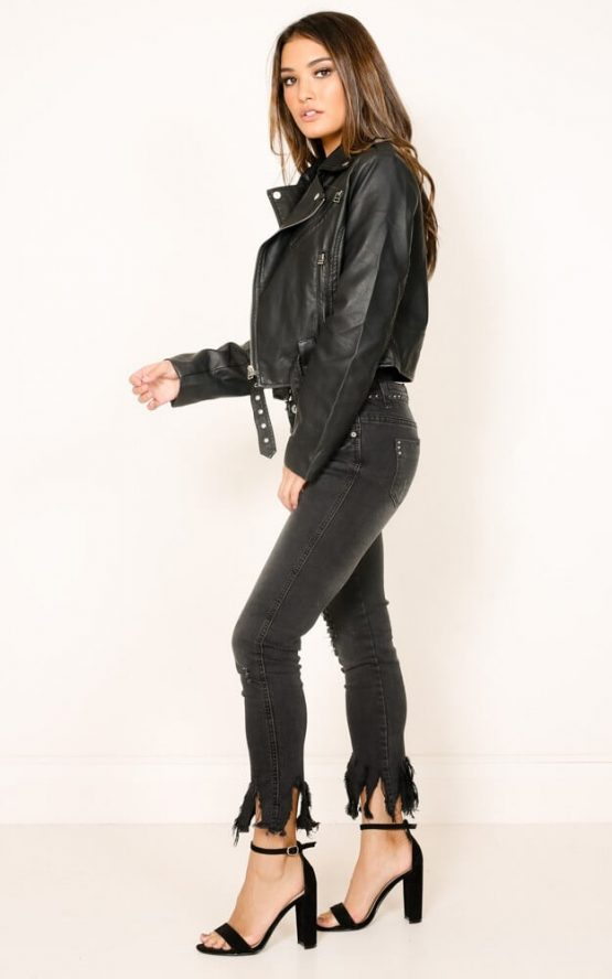 Rocker Chick Jacket in Black Leatherette