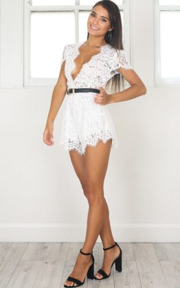 Trough The Fire Playsuit in White