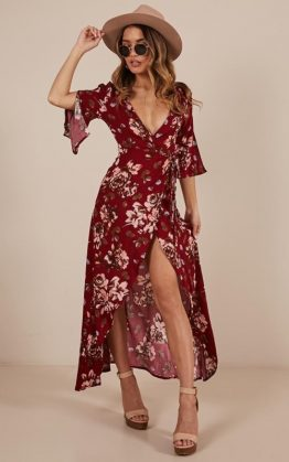 Slipped Away Dress in Wine Floral