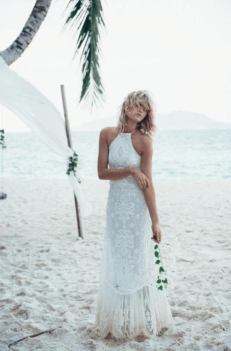 Casablanca Lace Halter Gown