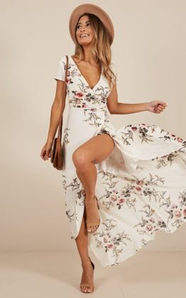 Wrap and Cross Maxi Dress in White Print