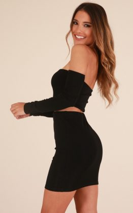 Meet Me At The Bar Two Piece Set In Black