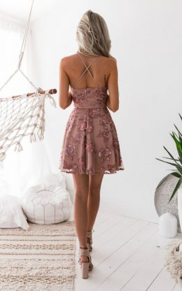 Sassy Embroidery Dress in Dusty Blush