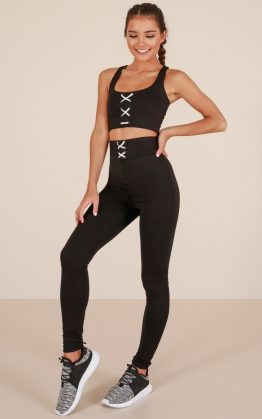 Get Going Crop Top in Black & Get Laced Tights in Black