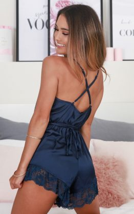 Night After Night Romper In Midnight Blue