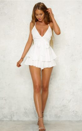 Teenage Fantasy Playsuit in White