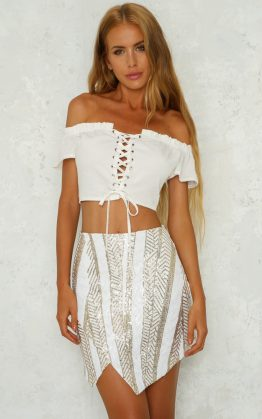 Checking In Crop Top in White