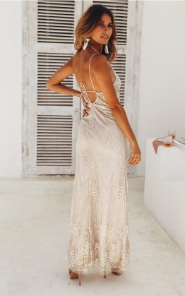 Lobby Conversations Maxi Dress in Champagne
