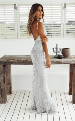 House Of Fun Maxi Dress in Silver