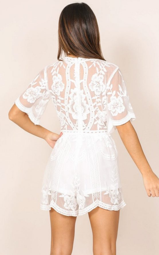 Face The Music Romper in White Lace