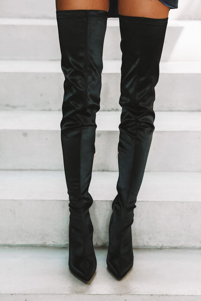 Billini Harper Boots Black Satin - All