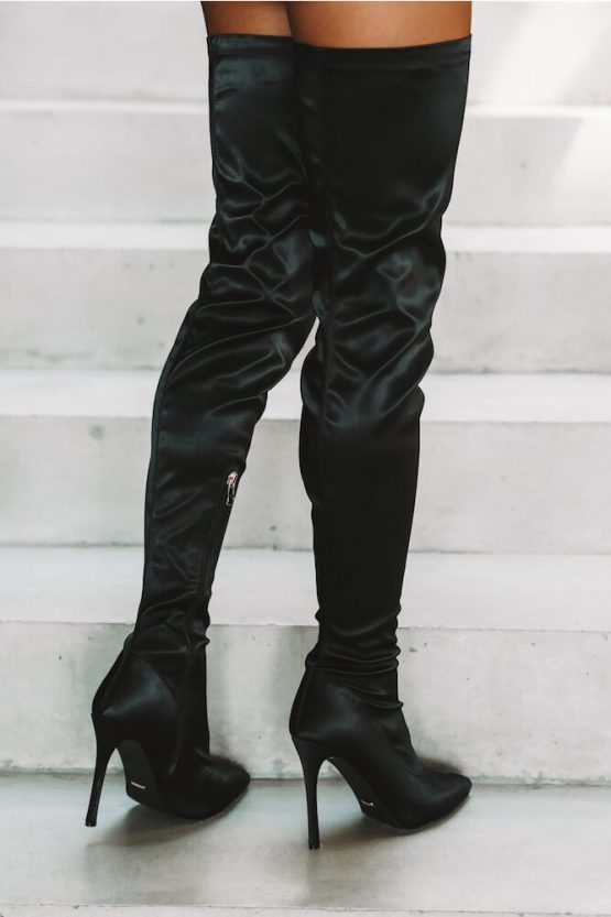 Billini Harper Boots Black Satin
