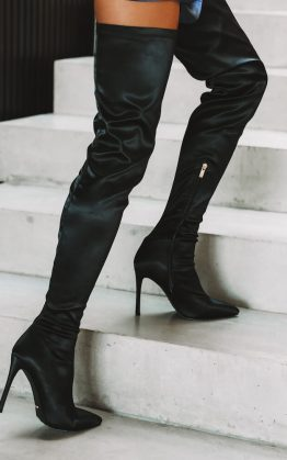 Billini Harper Boots Black Satin