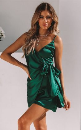 Good At Being Bad Dress in Forest Green