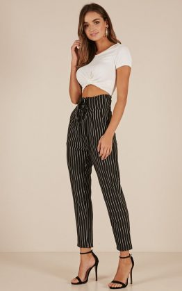 Would You Rather Pants In Black Pin Stripe