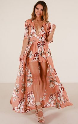 Defeater Maxi Playsuit In Rust Floral