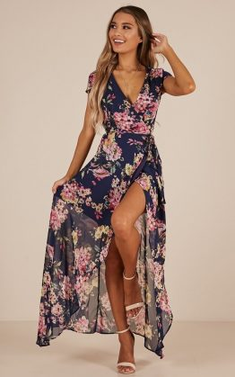 Wrap and Cross Maxi Dress in Navy Floral