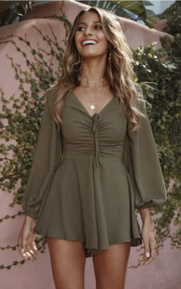 If Nothing Ends Playsuit in Khaki