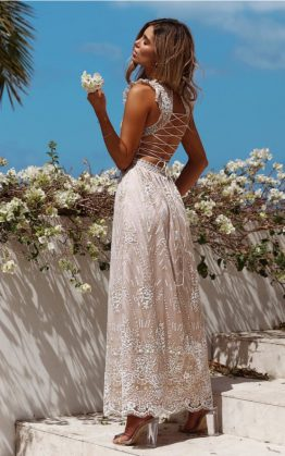 Gold On The Ceiling Maxi Dress in Champagne