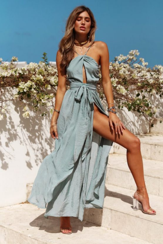 Stop Motion Maxi Dress in Olive