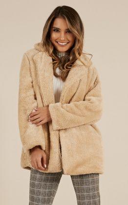 Simple Times Coat In Beige