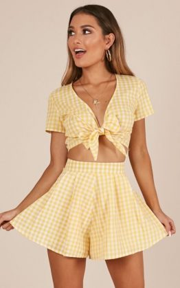 Pacific Beach Two Piece Set in Yellow Gingham