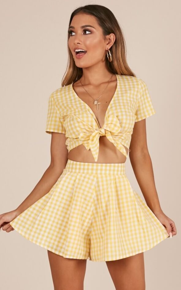 eff7f30e59a32 Pacific Beach Two Piece Set in Yellow Gingham - All Your Fashion Musthaves