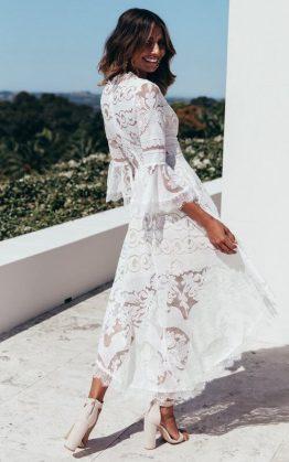 San Antonio Midi Dress in White