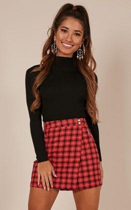 Rapsody Skirt In Red Check