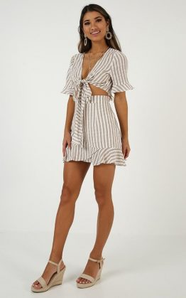 Stay Forever Two Piece Set In Beige Stripe