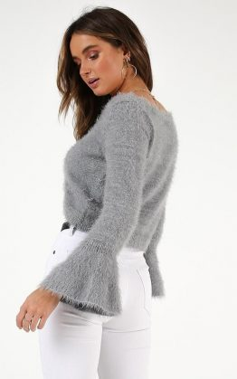 Whats A Girl To Do Knit Jumper In Grey