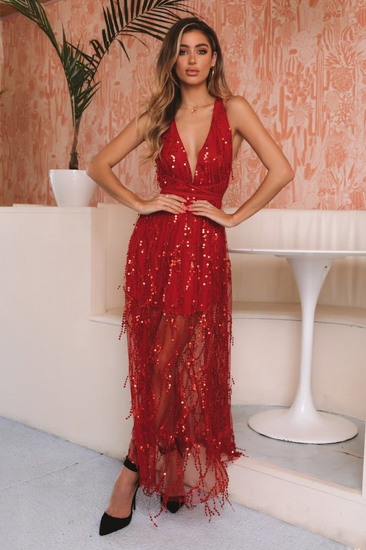 Sleepless In Seattle Maxi Dress in Red