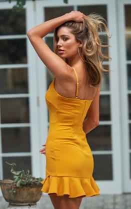 Velvet Roses Dress in Mustard