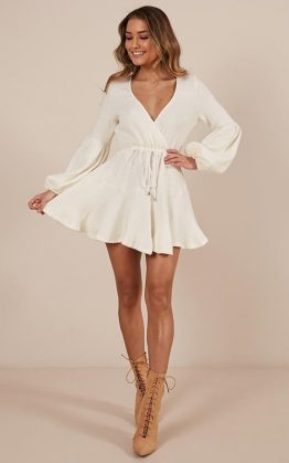 Not Your Hero Dress In Cream