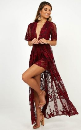 Lets Get Loud Maxi Playsuit In Wine