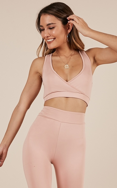 Got The Moves Crop Top In Dusty Pink & Born To Dance Tights In Dusty Pink
