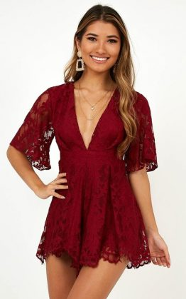 Break The Bar Playsuit In Wine