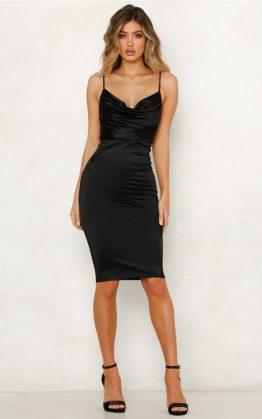 Kourtney Midi Dress in Black