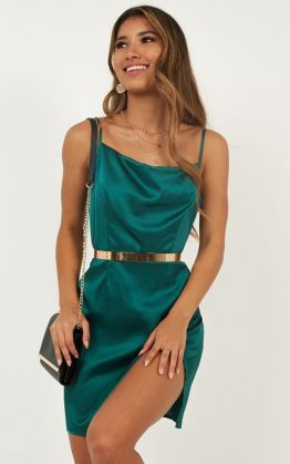 Night Time Light Dress In Emerald Satin