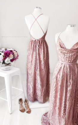 Clara Glitter Maxi Dress in Rose Gold