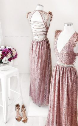 Abigail Glitter Maxi Dress in Rose Gold