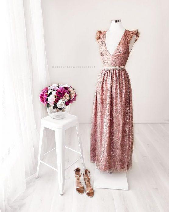 Abigail Glitter Maxi Dress in Rose Gold