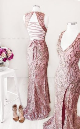 Lola Glitter Maxi Dress in Rose Gold