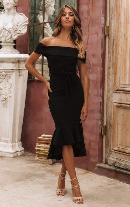 Amatista Midi Dress in Black