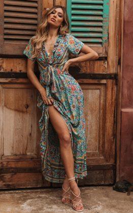 Mia Maxi Dress in Turquoise