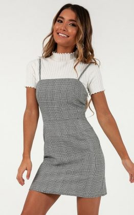 Youve Got Issues Mini Dress In Black Houndstooth